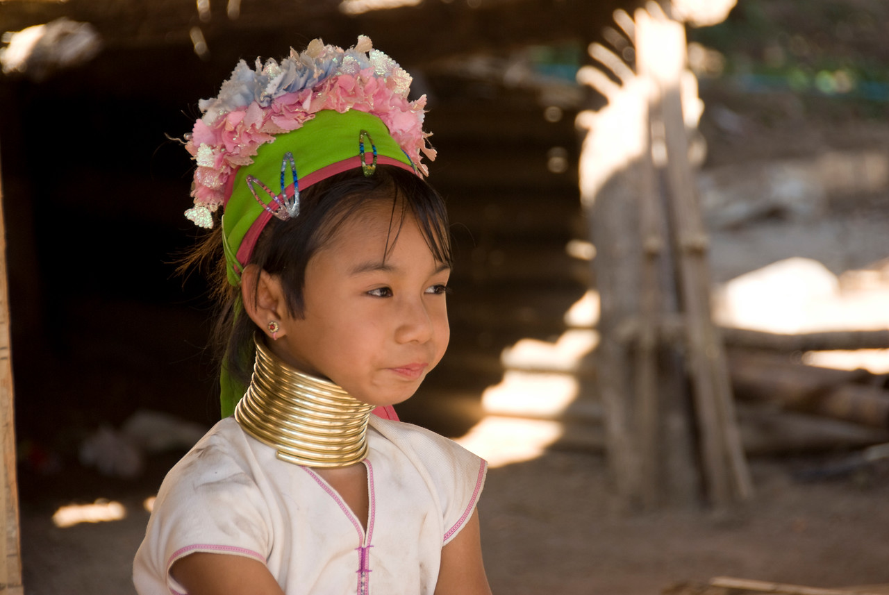 Kayan girl with head ornaments - Chiang Mai, Thailand