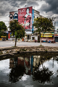 Colorful capture and nice reflection at the border of the Old Town of Chiang Mai.