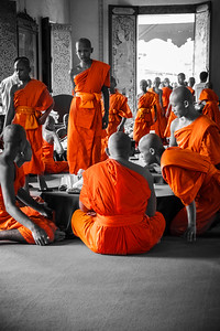 Beautiful life scene showing young monks going to lunch at Wat Phra Sing.