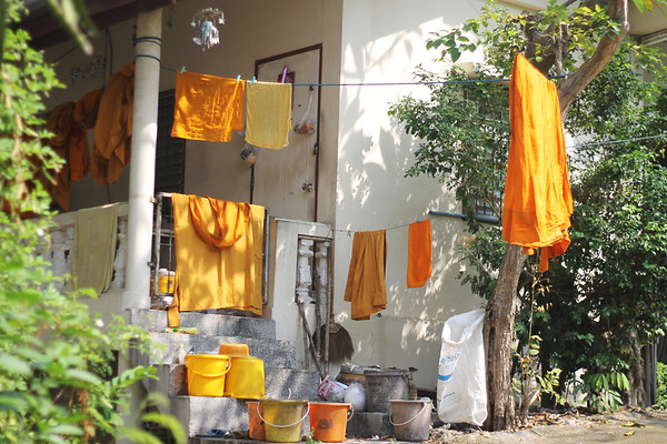 Monks' orange clothing. November 2014