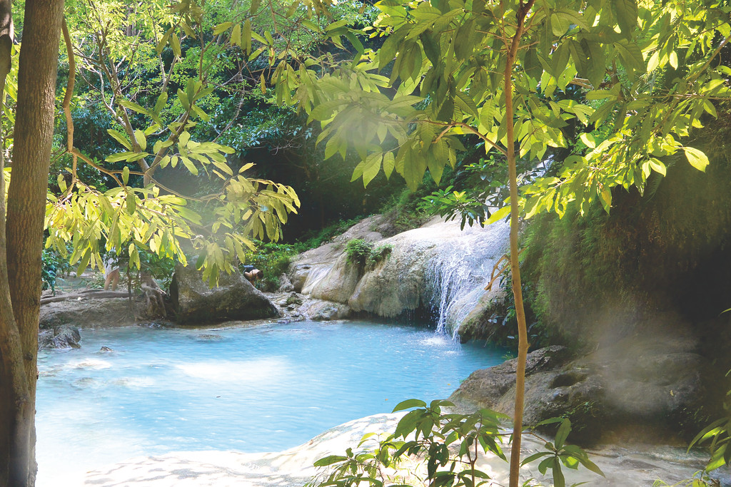Erawan Falls - the seven-tiered waterfalls in eastern Thailand. January 2015
