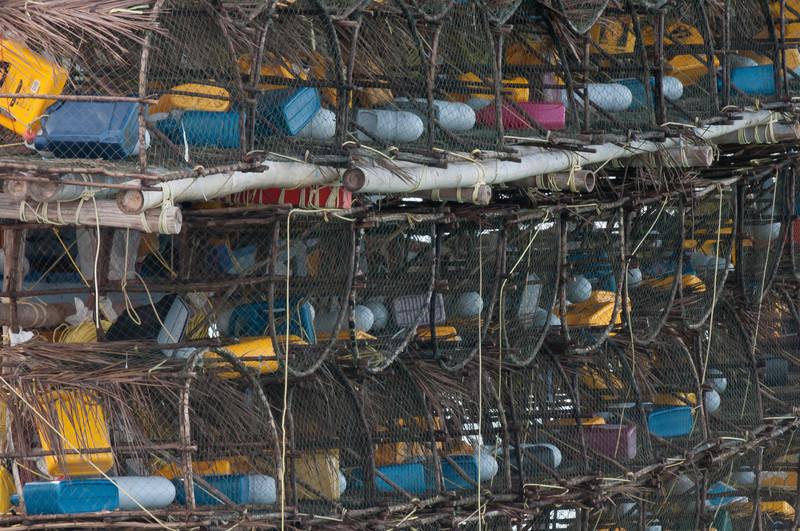 Close-up shot of fishing supplies in a fishing boat - Ko Samui, Thailand