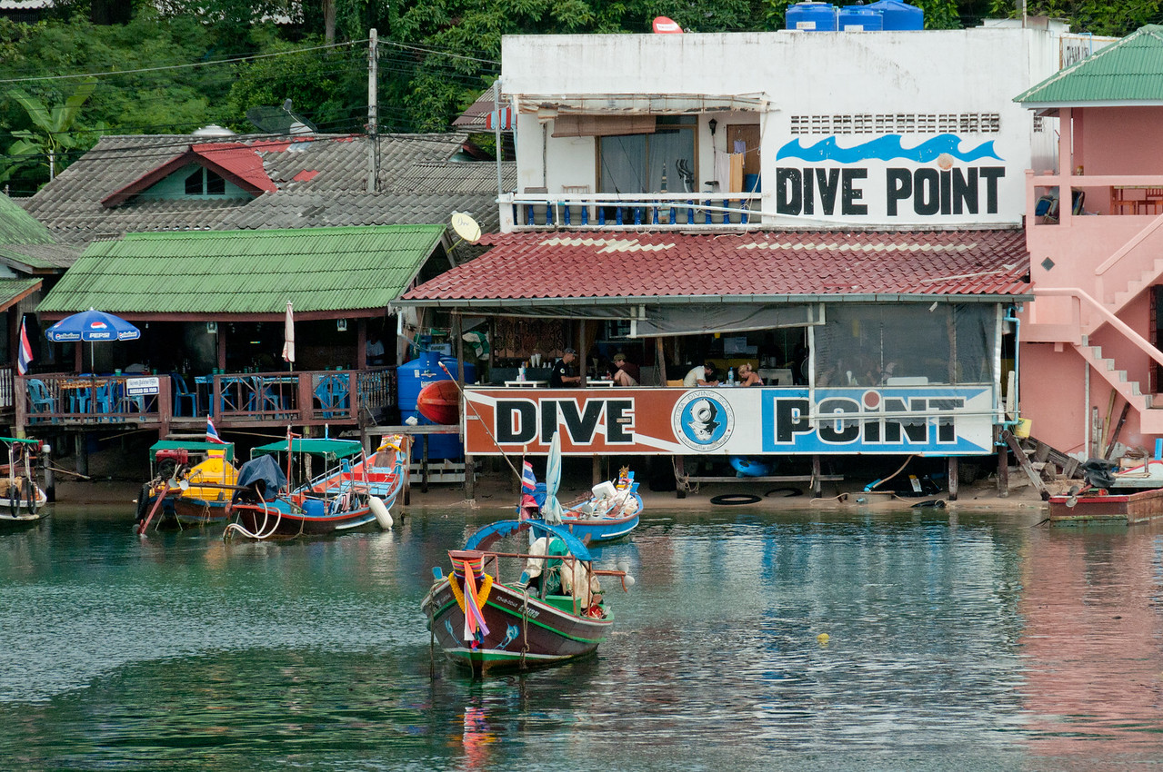 Diving company headquarters along the sea in Ko Samui, Thailand