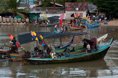 Colorful fishing boats at Ko Samui, Thailand