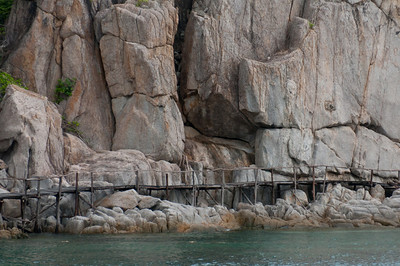 Wooden bridge along rock formation in Ko Samui, Thailand