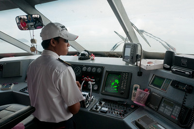 Inside the cockpit view of captain on boat - Ko Samui, Thailand