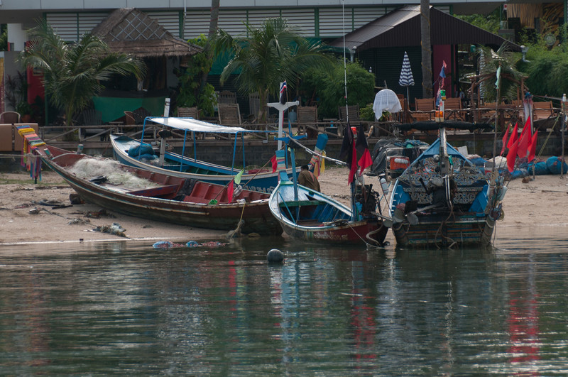 Fishing boats with supplies on shore at Ko Samui, Thailand