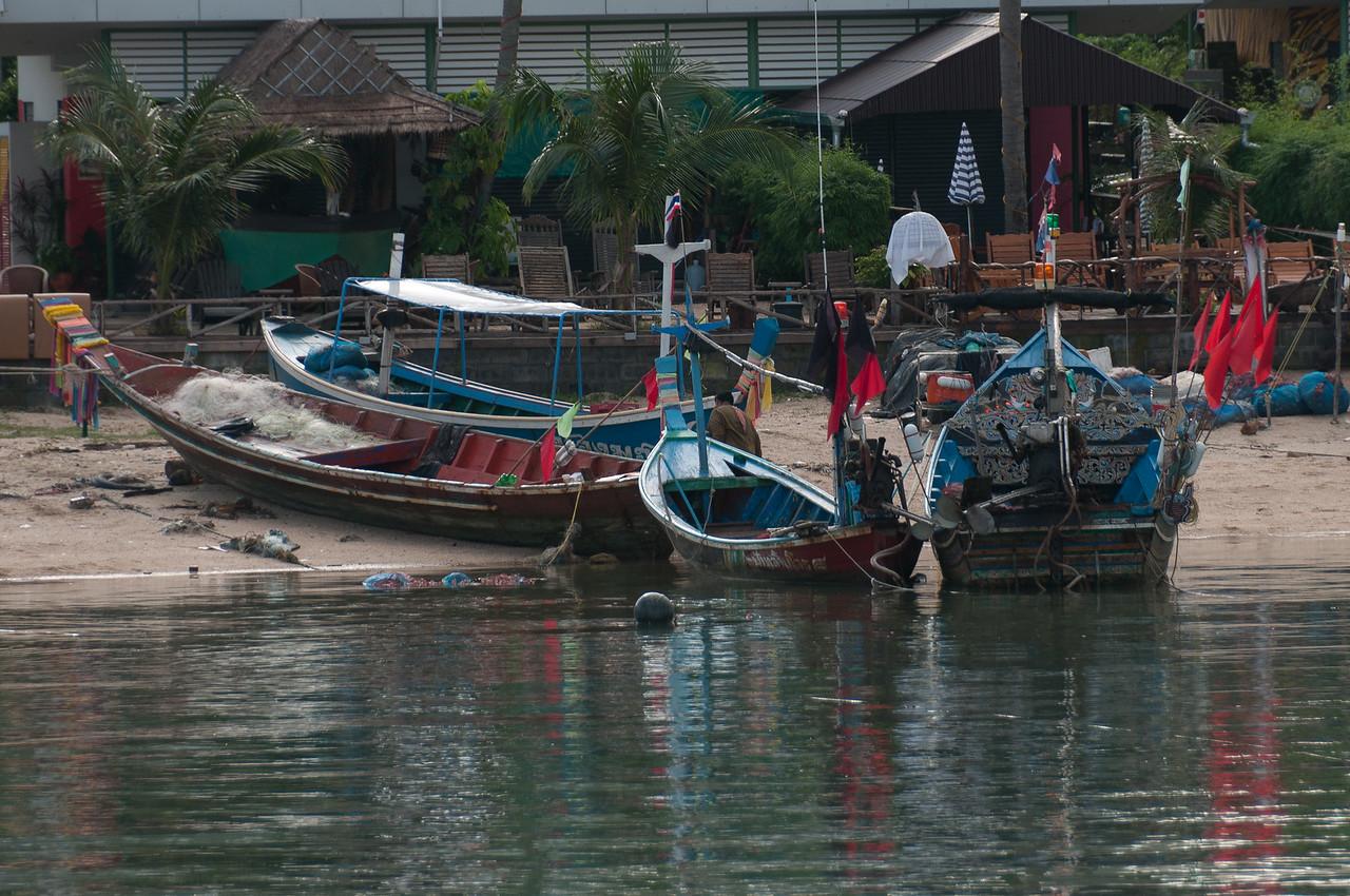Fishing boats with supplies on shore at Ko Samui, Thailand