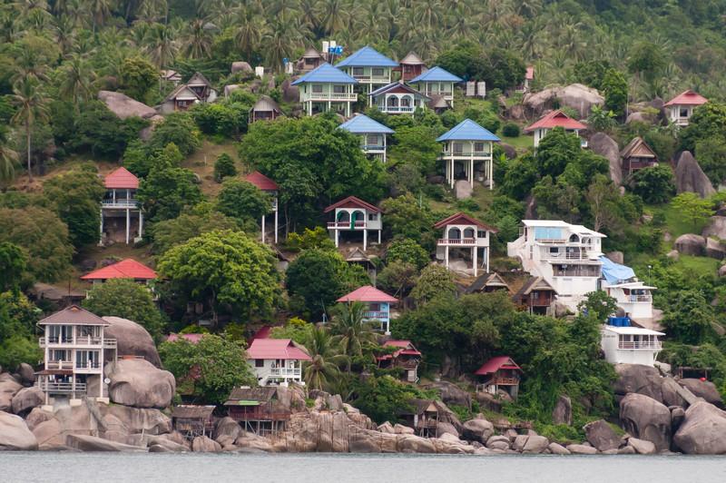 Houses on the hillside at Ko Samui, Thailand