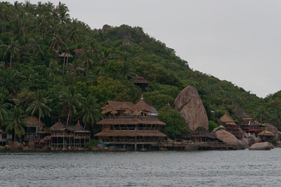 Wooden houses on the hillside at Ko Samui, Thailand