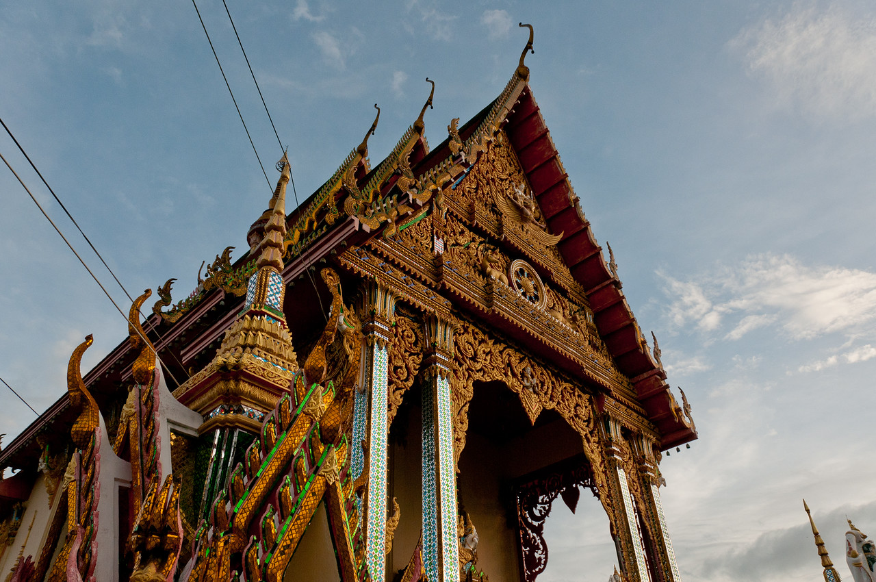 Elaborate architecture at a temple in Ko Samui, Thailand
