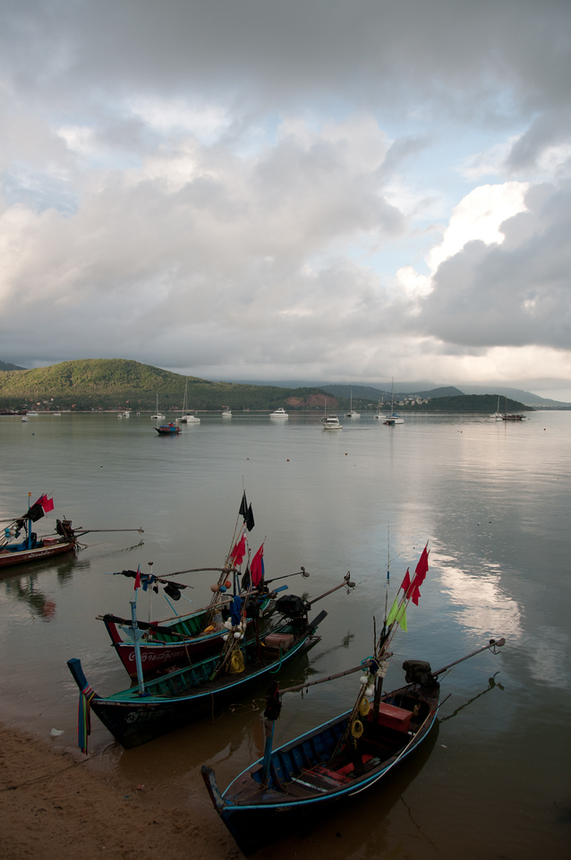Stormy clouds forming above ocean with fishing boats - Ko Samui, Thailand