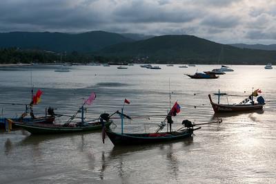 Fishing boats and yachts scattered at sea - Ko Samui, Thailand