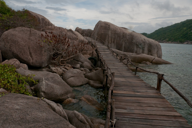 Wooden bridge by the seaside in Ko Samui, Thailand