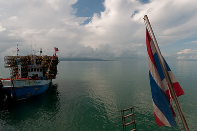 Shot of a fishing boat from another boat - Ko Samui, Thailand