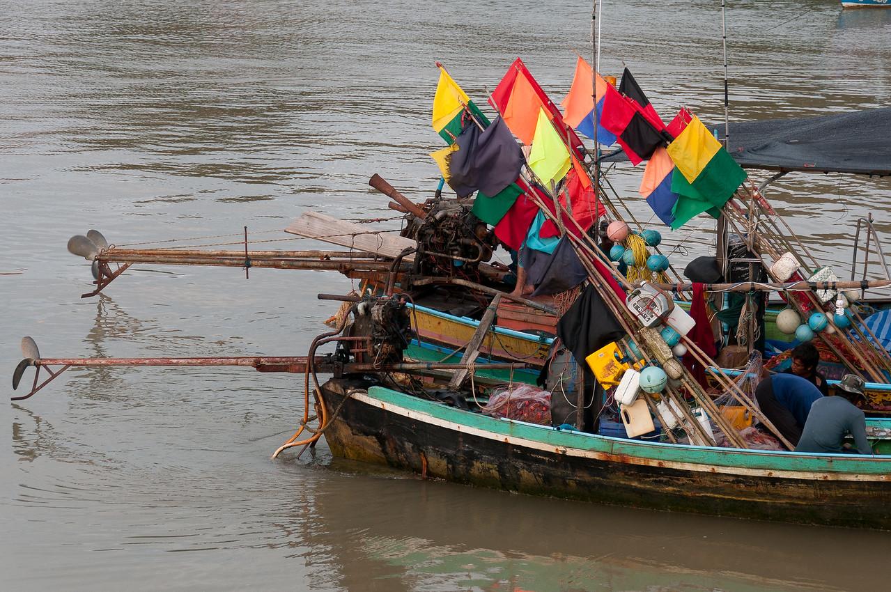 Fishing boats filled with supplies at Ko Samui, Thailand
