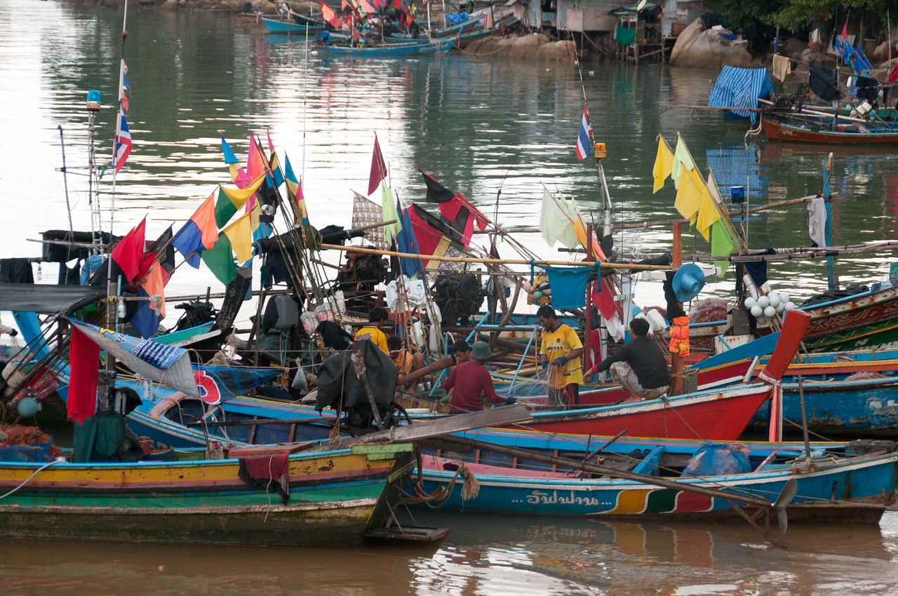Colorful fishing boats docked in Ko Samui, Thailand
