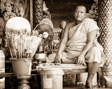 Portrait of a monk shot at Wat Phra Yai (Big Buddha Temple).