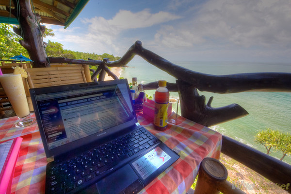 Working at Diamond Cliff bar, Koh Lanta, Thailand