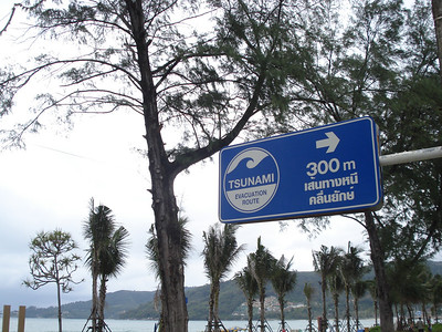 Tsunami Evacuation Route sign on Patong Beach, Koh Phuket - Thailand.