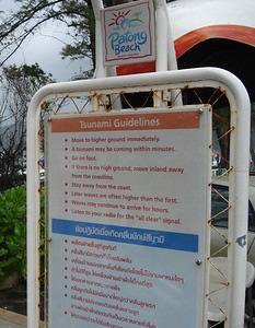 Tsunami Guidelines sign on Patong Beach, Koh Phuket - Thailand.