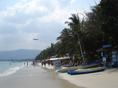 Plane over Chaweng Beach, Koh Samui - Thailand.