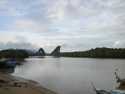 Krabi River and limestone karsks, Krabi - Thailand.