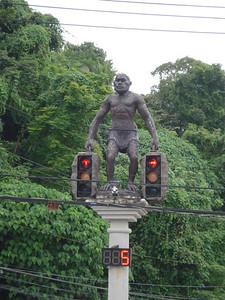 Manut Boraan (ancient man) traffic lights, Krabi - Thailand.