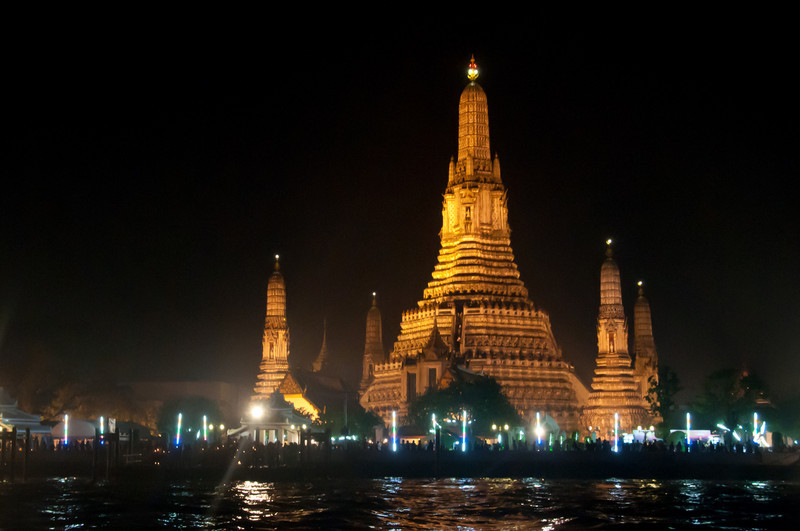 Beautiful city skyline during the Loi Krathong festival in Thailand