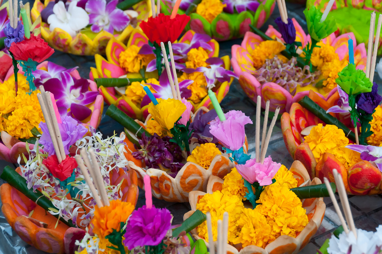 Colorful ornaments at the Loi Krathong festival in Thailand