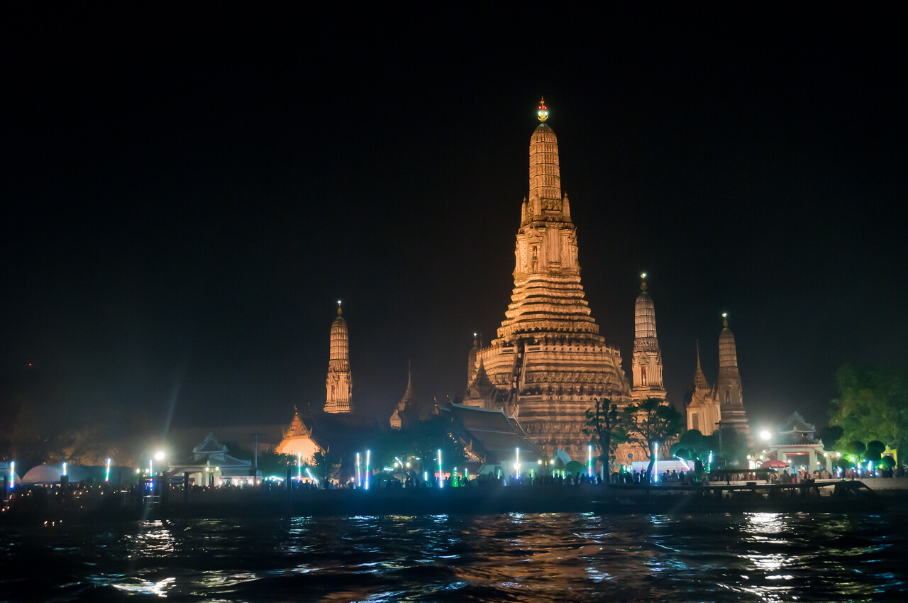 More beautiful lights from skyline along the river in Thailand