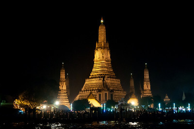 Gathering of tourists for the Loi Krathong festival in Thailand