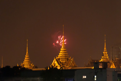 Fireworks above the city skyline in Chiang Mai, Thailand