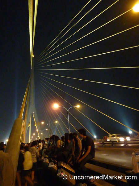 Rama VIII Bridge on Loi Krathong Festival - Bangkok, Thailand
