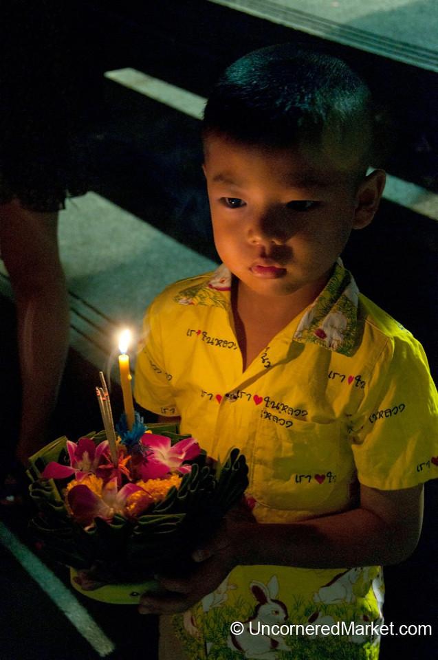 Serious Moment during Loi Krathong Festival - Bangkok, Thailand