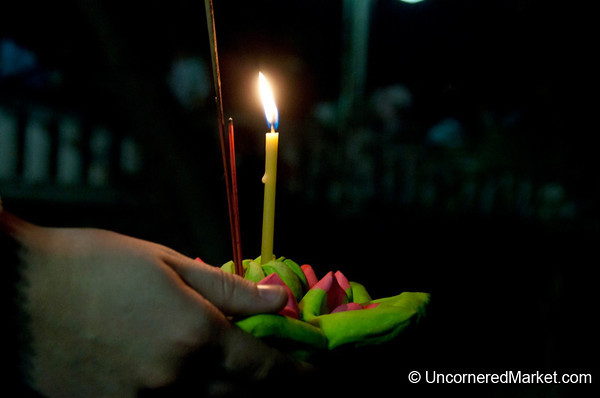 A Moment of Reflection - Loi Krathong Festival in Bangkok, Thailand