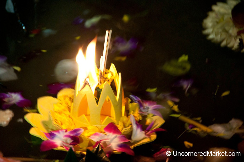 Krathong (Raft) Floating Down Chao Praya River - Bangkok, Thailand