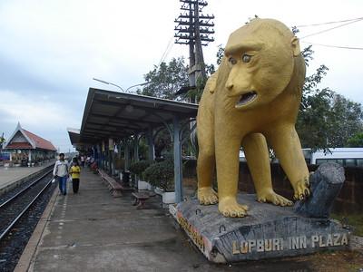 Monkey Statue Lopburi Station, Lopburi - Thailand.