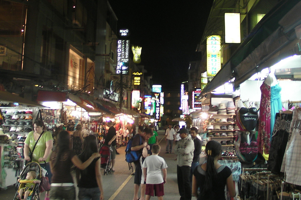 Street Scene at Night in Patong - Phuket, Thailand