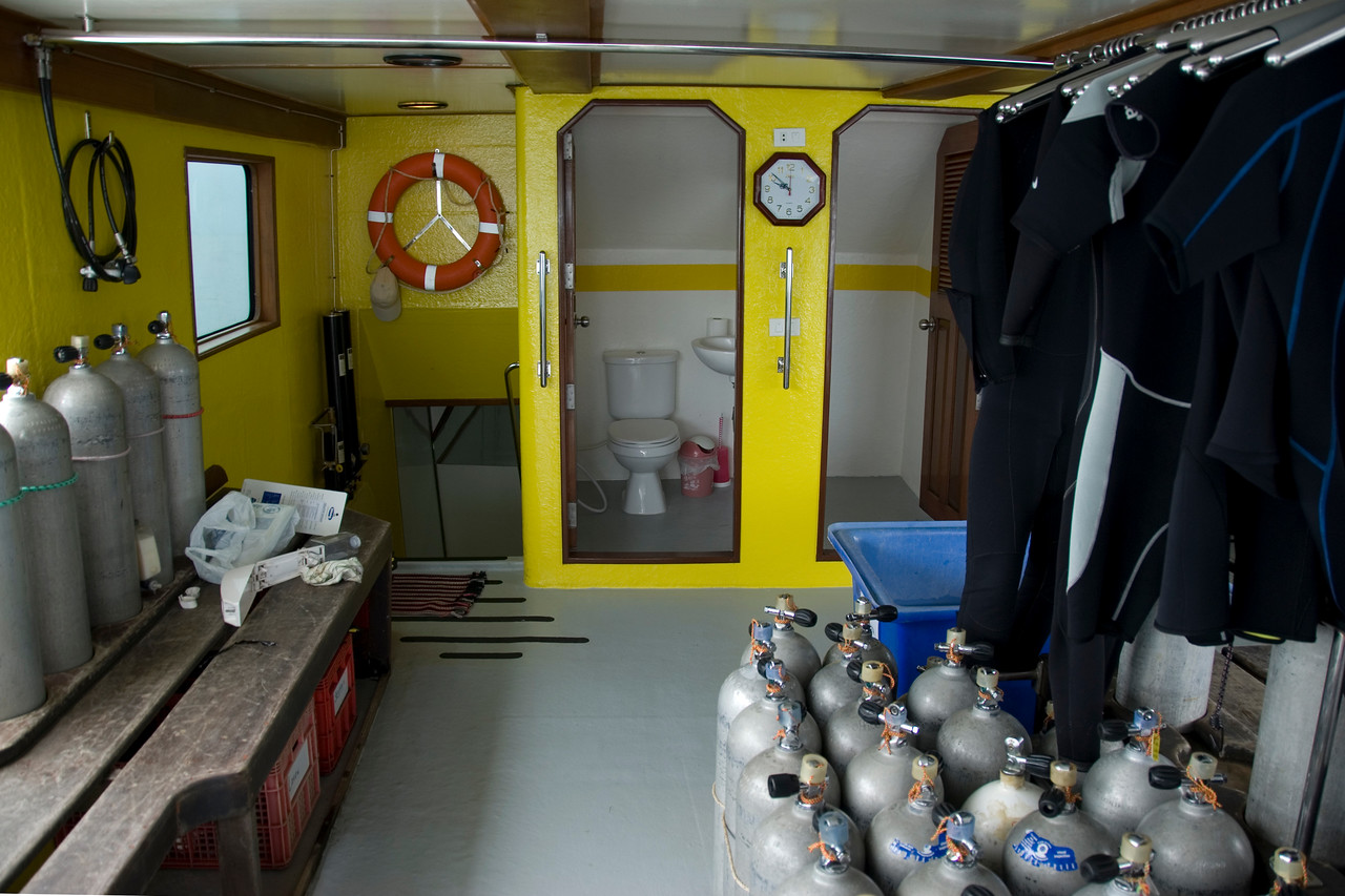 Oxygen tanks and toilet inside diving boat - Phuket Thailand