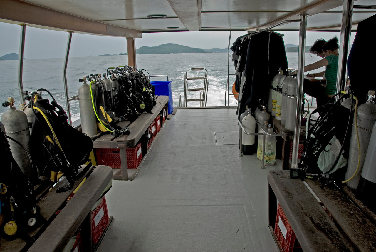 Diving gears inside the boat in Phuket Thailand