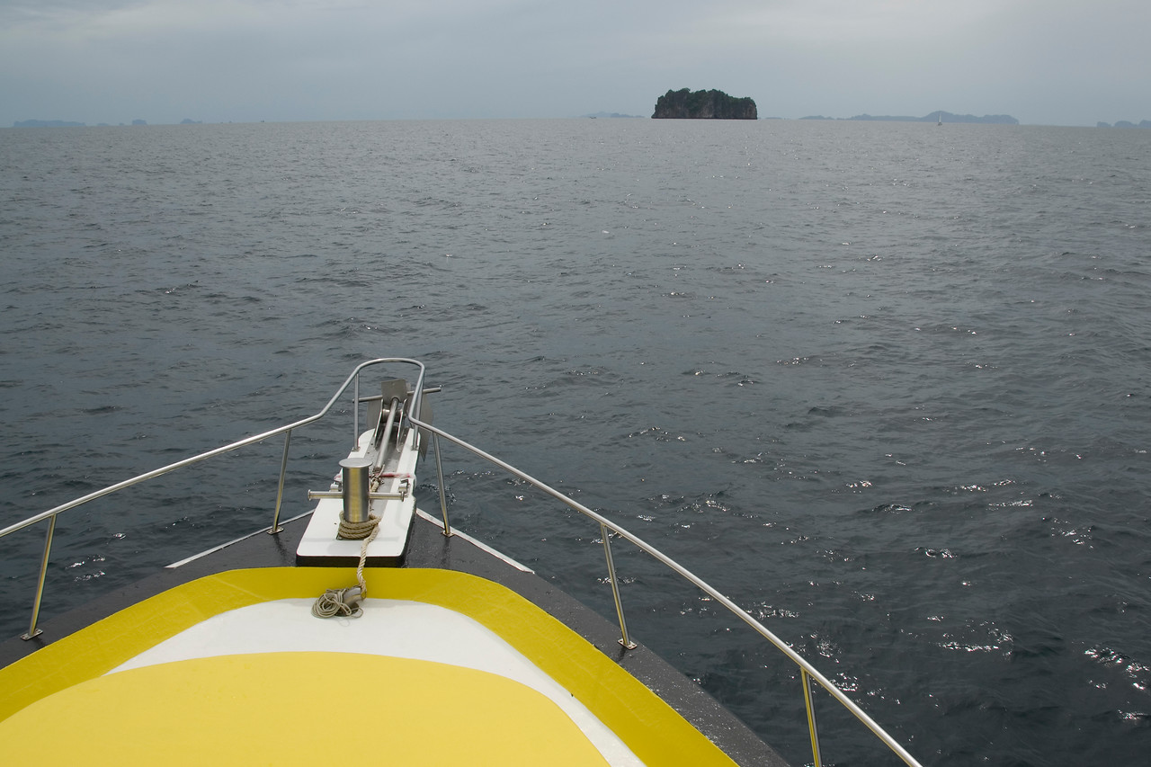 Bow of dive boat with view of the ocean - Phuket, Thailand