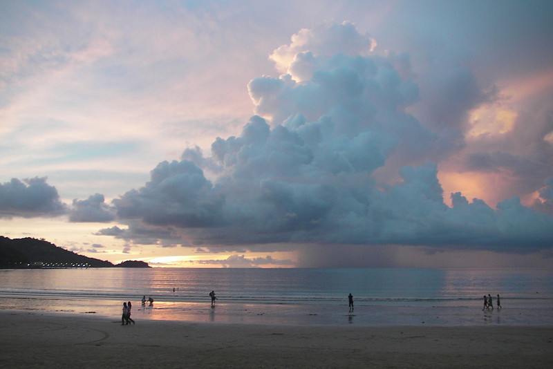 Huge clouds with sunset streaks over Patong Beach - Phuket, Thailand