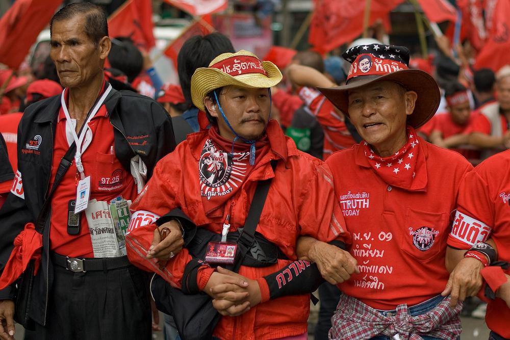 Men at political rally, Bangkok, Thailand