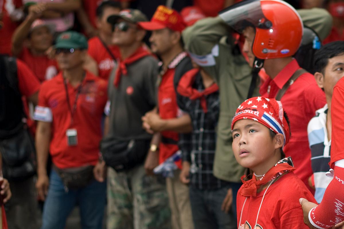 Boy at redshirt protest, Bangkok, Thailand