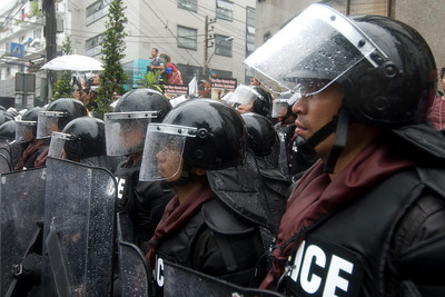 Bangkok police in riot gear