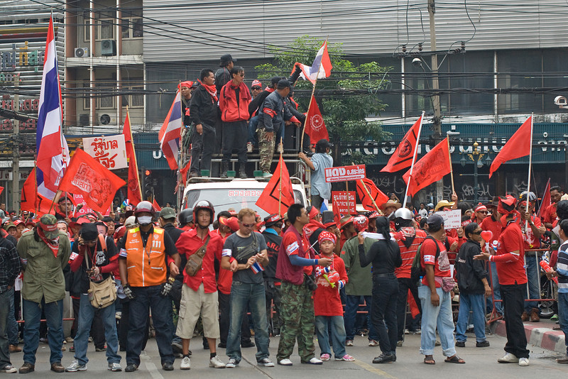 Protesters forming a barricade during Red Shirt Protest in Thailand