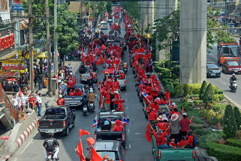 Protesters on vehicles during Red Shirt Protest in Thailand