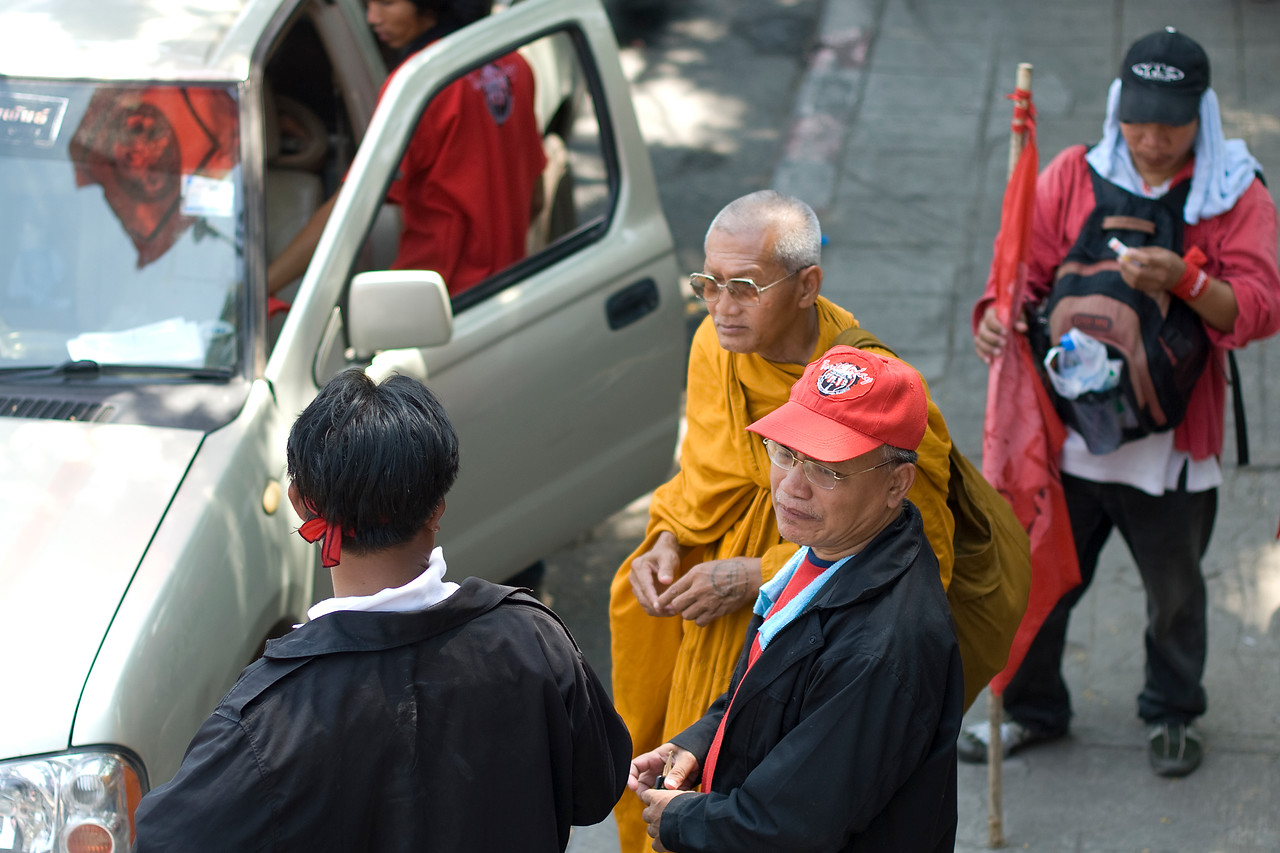 Shot of a monk during Red Shirt Protest in Thailand