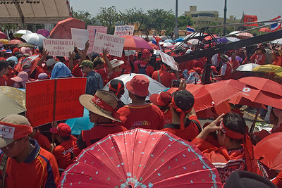 Shot of the huge crowd part of the Red Shirt Protest in Thailand